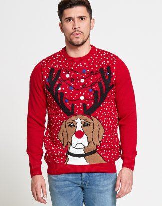 Jultröja med Hundmotiv, Renhorn och LED-Ljus