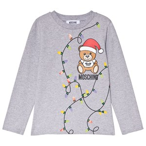 Moschino Kid-Teen Christmas Bear Print Långärmad T-shirt Grå 4 years