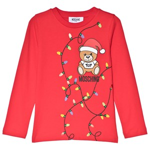 Moschino Kid-Teen Christmas Bear Print Långärmad T-shirt Röd 5 years