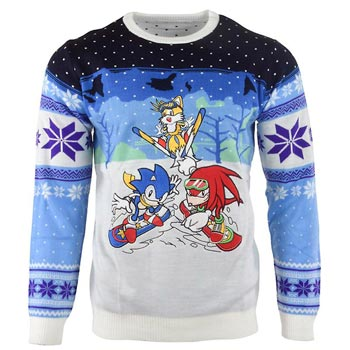 Sonic / Christmas jumper / Skiing M