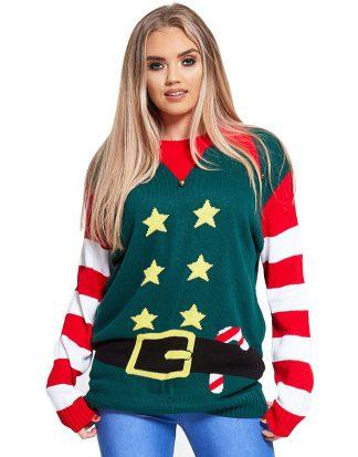 Grön Tomtealv Jultröja med Stjärnmotiv