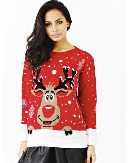 Röd Stickad Jultröja med Rudolf-Motiv