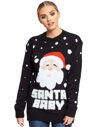 Santa Baby - Svart Jultröja med Tomtemotiv