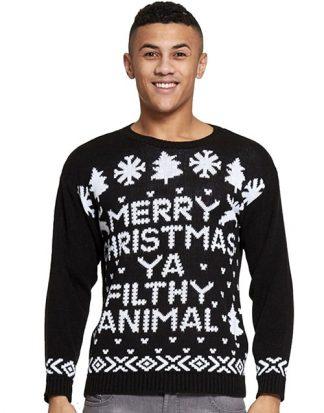 Filthy Animal - Svart Stickad Jultröja till Man