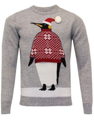 Grå Stickad Pingvin Jultröja till Man