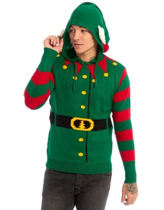 Grön Stickad Tomtealv Jultröja med Huva till Man