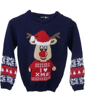 I Love X-Mas - Marinblå Stickad Jultröja för Barn