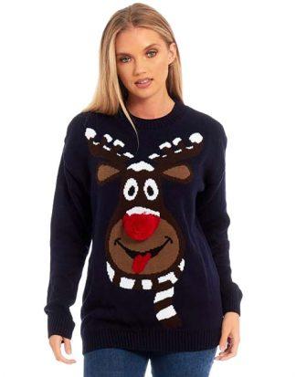 Marinblå Stickad Jultröja med Rudolfmotiv och Röd Näsa