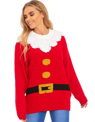 Röd Jultomte Tröja till Dam med Plyschkanter