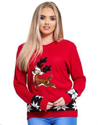 Röd Stickad Jultröja med Bambi-Motiv i Paljetter