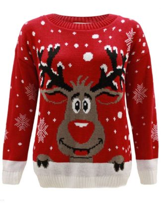 Röd Stickad Jultröja med Rudolf-Motiv till Barn