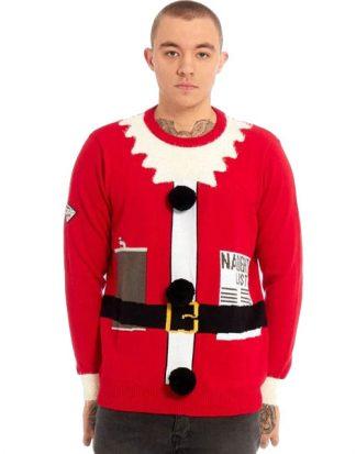 Röd Stickad Tomte Jultröja till Man
