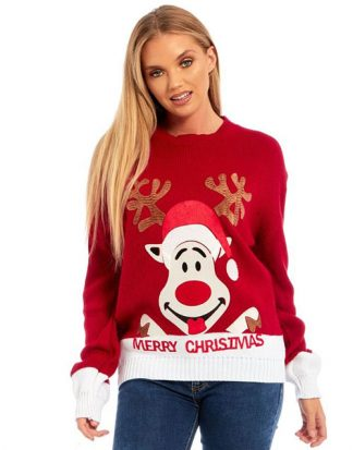 Santas Reindeer - Röd Stickad Jultröja med Mjukt Motiv