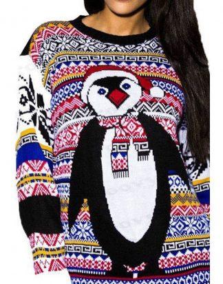 Stickad Pingvin Jultröja med Bårder