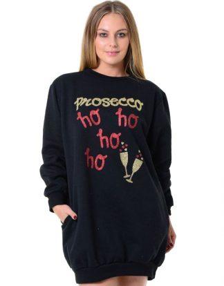 Svart Prosecco Jultröja med Fickor