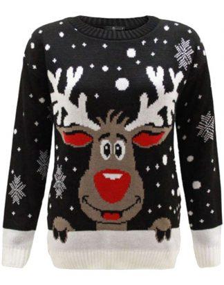 Svart Stickad Jultröja med Rudolf-Motiv till Barn