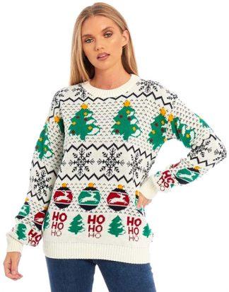 Vit Stickad Jultröja med Stiliga Motiv