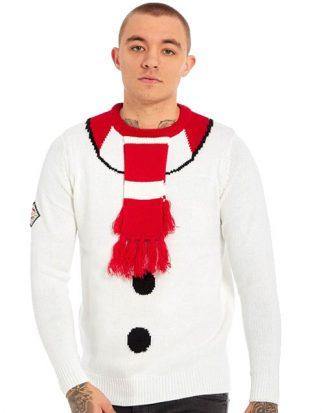 Vit Stickad Snögubbe Jultröja med Hängande Halsduk