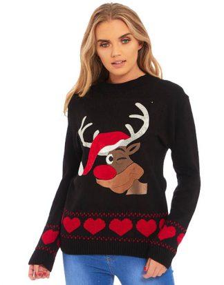 Winking Rudolf - Svart Stickad Jultröja med Mjukt Motiv och Stenar