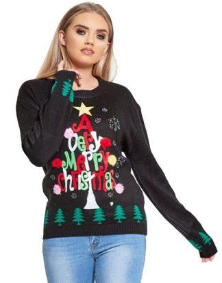 X-Mas Tree - Svart Stickad Jultröja med Mjukt Motiv