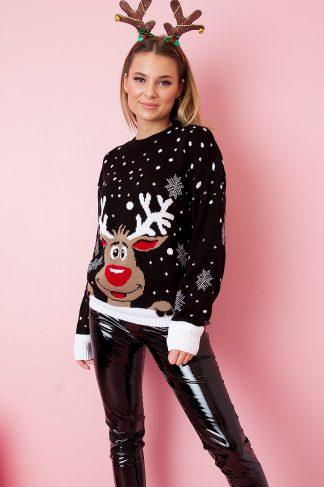 Christmas Sweater - Hello Rudolph Svart
