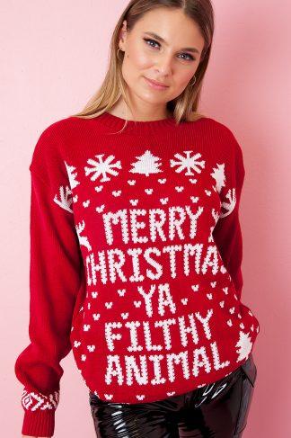 Christmas Sweater - Ya Filthy Animal Röd