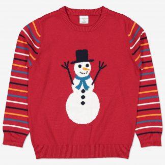 Stickad tröja med snögubbe röd