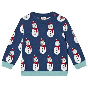 Frugi Navy Organic Knitted Jumper with Snowman Design 6-12 months