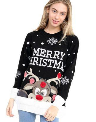 Merry Christmas - Svart Rudolf Jultröja med Pom Poms