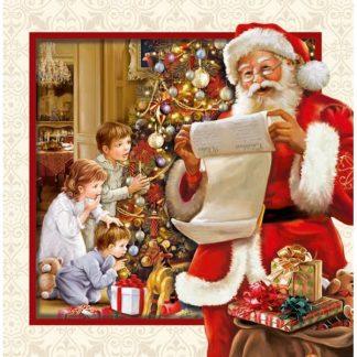 Julkort dubbelt 3D kvadrat Tomte och barn