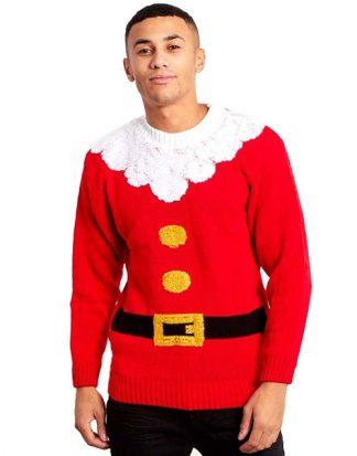 Röd Jultomte Tröja till Man med Plyschkanter