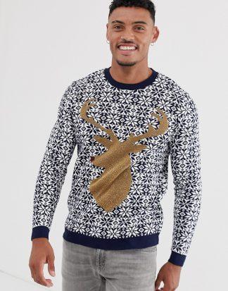 ASOS DESIGN - Foundation - Jultröja med hjort-Marinblå