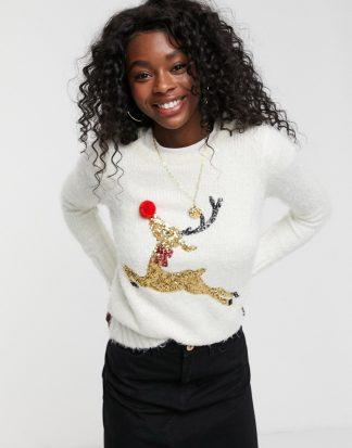 Brave Soul - Fluffig jultröja med paljettutsmyckad ren-Gräddvit