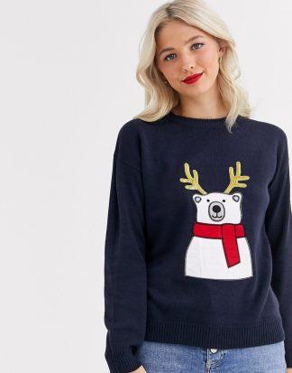 Brave Soul - Jultröja med isbjörn och paljettprydda renhorn-Marinblå