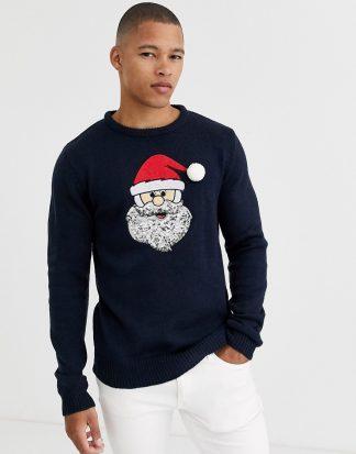 Brave Soul - Jultröja med jultomte-Marinblå