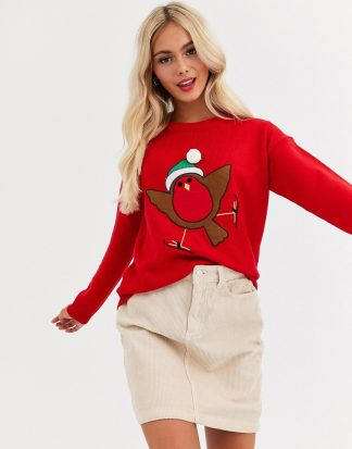 Brave Soul - Jultröja med rödhakemotiv och pompom