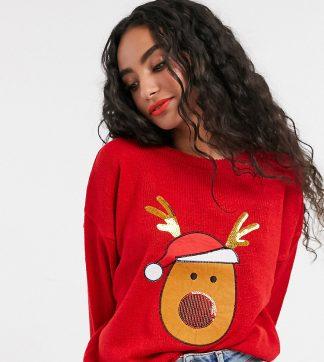 Brave Soul Petite - Jultröja med paljettpanel-Röd