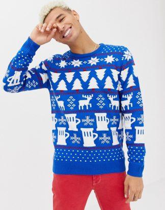 Burton Menswear - Blå jultröja med ljus
