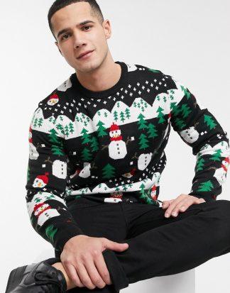 Burton Menswear - Jultröja med snöbollskrig-Svart