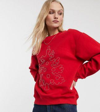 Monki - Röd sweatshirt med broderad julgran