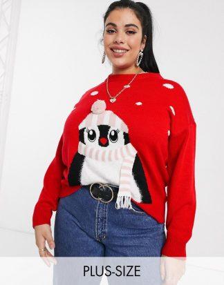 New Look Curve - Röd jultröja med pingvinmotiv-Svart