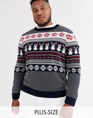 New Look Plus - Jultröja med pingvin och fairisle-mönster-Marinblå