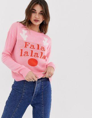 """Noisy May - Jultröja med rendesign och texten """"falala""""-Rosa"""