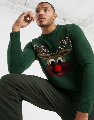 Only & Sons - Grön jultröja med ren