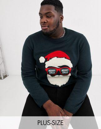 Only & Sons - Marinblå jultröja med flockad jultomte