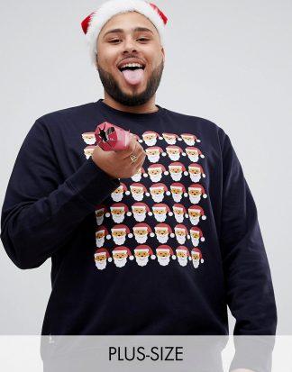 Threadbare - Plusstorlek - Jultröja i sweatshirt-material med rund halsringning-Marinblå