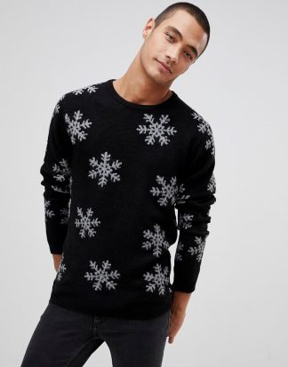 Tom Tailor - Svart jultröja med snöflingor