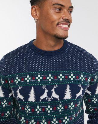 Topman - Mörkblå, renmönstrad jultröja-Marinblå
