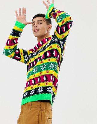 ASOS DESIGN - Flerfärgad jultröja med festlig design