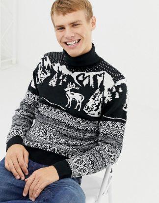 Burton Menswear - Marinblå jultröja med fairisle-renmotiv och polokrage